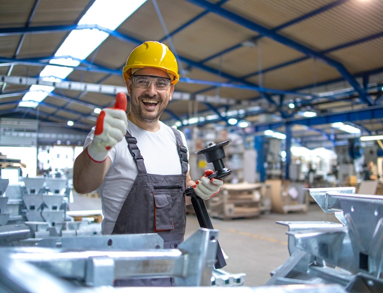 Factory Worker Protective Equipment Production Hall