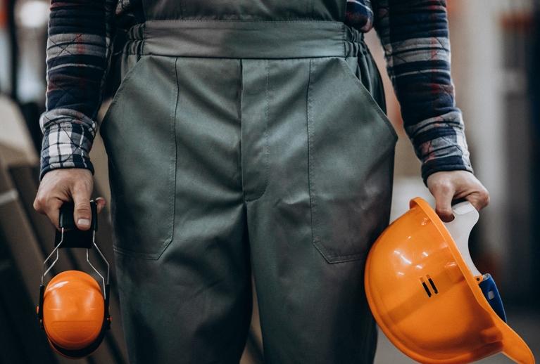 Handyman with Safety Earphones